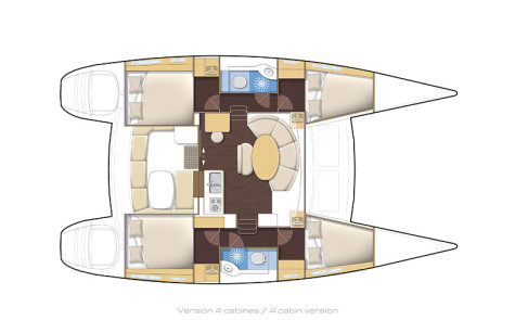 Lagoon 380 S2 layout-4cabins