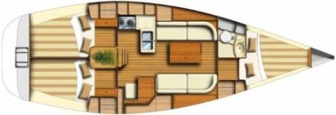 Dufour 34 Classic plan-3kabine